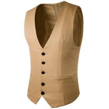 Simple boutonnage Faux Pocket Vest
