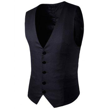 Single Breasted Faux Pocket Vest