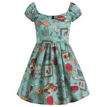 Floral Print Sweetheart Neck Flare Dress