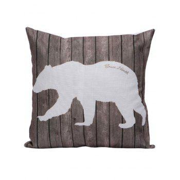 Polar Bear Wood Print Pillow Case