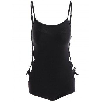 Lace Up Underwire One Piece Swimsuit