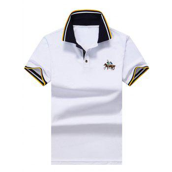 Embroidered Stripe Polo Shirt
