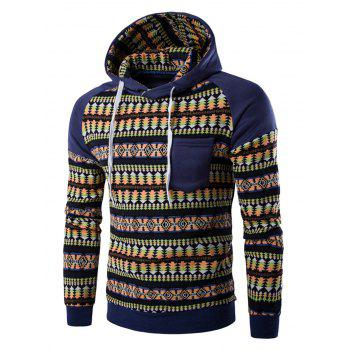 Chest Pocket Tribal Printed Hoodie
