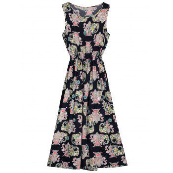 Round Neck Sleeveless Printed Dress