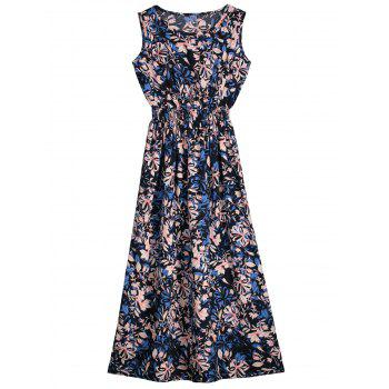 Sleeveless Flower Print Mid Calf Dress