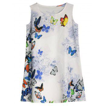 Butterfly Printed Sleeveless Mini Dress