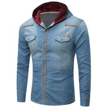 Breast Pocket Hooded Denim Shirt