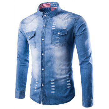 Destroyed Denim Shirt with Chest Pocket
