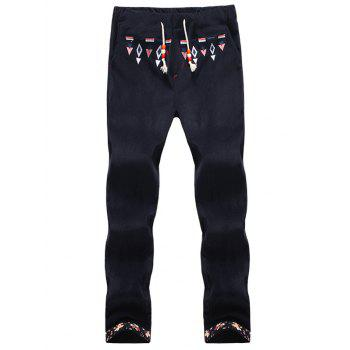 Floral Hemming Geometric Embroidered Corduroy Pants
