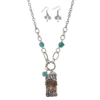 Faux Turquoise Life Tree Leaf Jewelry Set