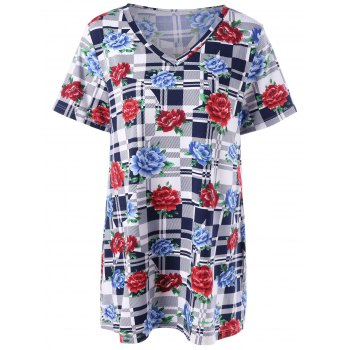 Plus Size Floal and Plaid T-Shirt