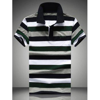Embroidered Color Block Stripe Polo T-Shirt