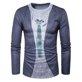 Suit Print Long Sleeve Funny T-Shirt
