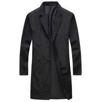 Single Breasted Turndown Collar Long Wind Coat