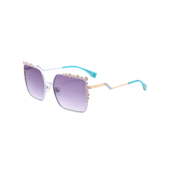 Bubble Shape Insert Zigzag Leg Metallic Sunglasses