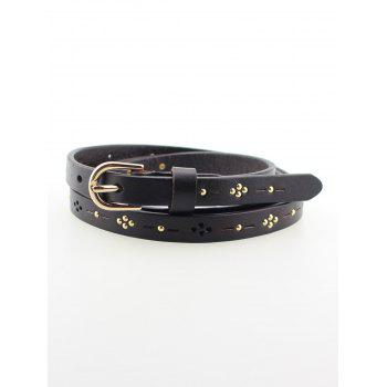 Leather Skinny Studded Waist Belt
