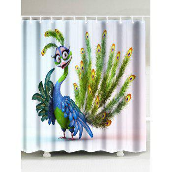 Peacock Print Polyester Fabric Shower Curtain