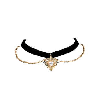 Artificial Pearl Love Heart Choker Necklace