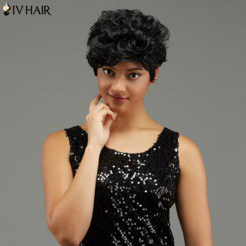 Buy Short Curly Hairstyle Capless Human Hair Wig JET BLACK