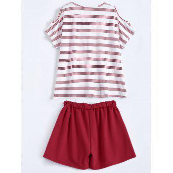 Plus Size Striped T-Shirt With Shorts - RED 3XL
