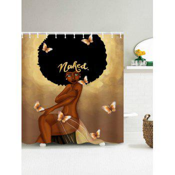 Afro Hair Fashion Girl Have A Bath Shower Curtain