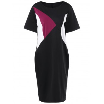 Plus Size Color Block Knee Length Tight Dress