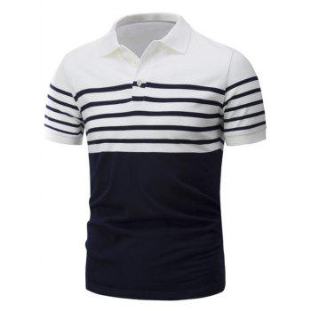 Short Sleeve Stripe Panel Design T-Shirt