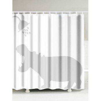 Hippo Shadow Water Resistant Fabric Shower Curtain