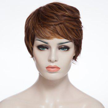 Trendy Synthetic Brown Mixed Fluffy Short Curly Side Bang Elegant Women's Capless Wig - COLORMIX COLORMIX