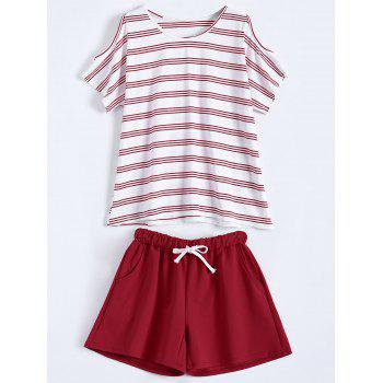 Plus Size Striped T-Shirt With Shorts - RED RED