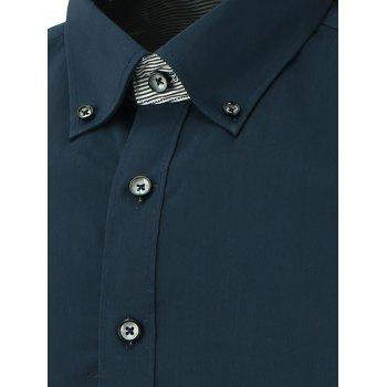 Long Sleeve Button Down Shirt - CADETBLUE 3XL
