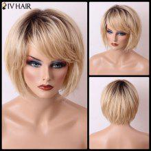Siv Hair Short Bob Gradient Straight Sided Bang Capless Human Hair Wig