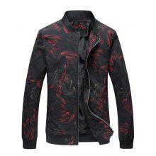 Colorful Floral Print Stand Collar Jacket