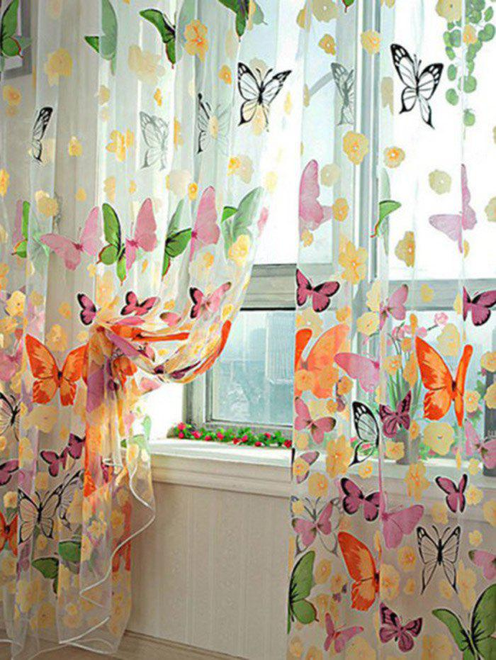 Butterfly Print Sheer Tulle Window Curtain купить