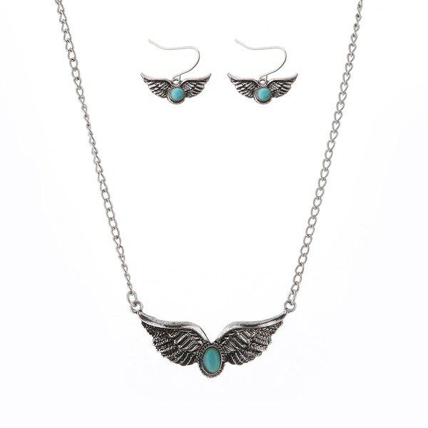Faux Turquoise Wings Jewelry Set faux turquoise cow engraved jewelry set