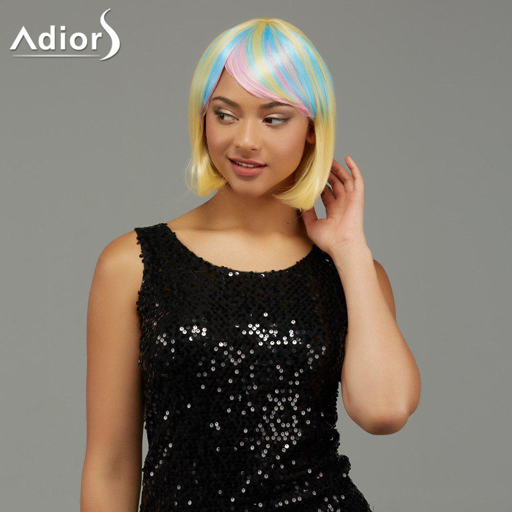 Adiors Short Rainbow Side Bang Gradient Straight Party Synthetic Wigs