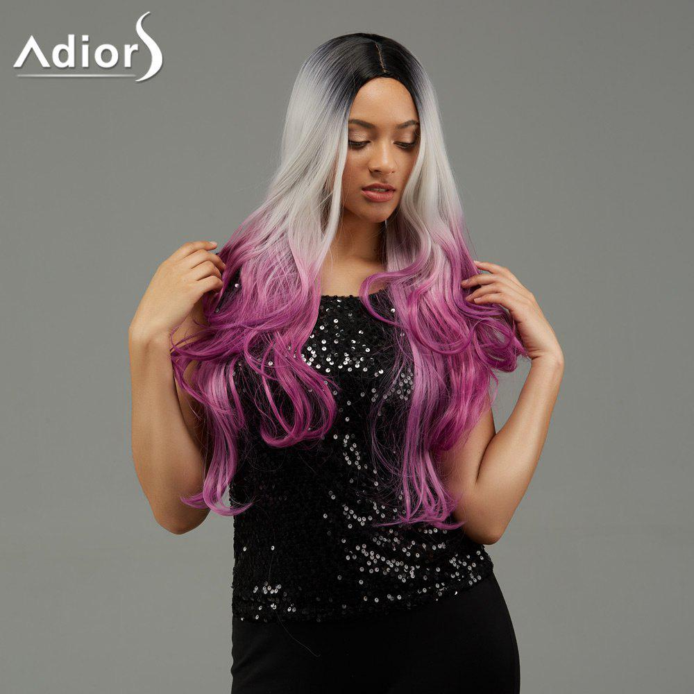 Adiors Wavy Ombre Middle Part Long Synthetic Wig adiors long middle part ombre wavy synthetic cosplay lolita wig