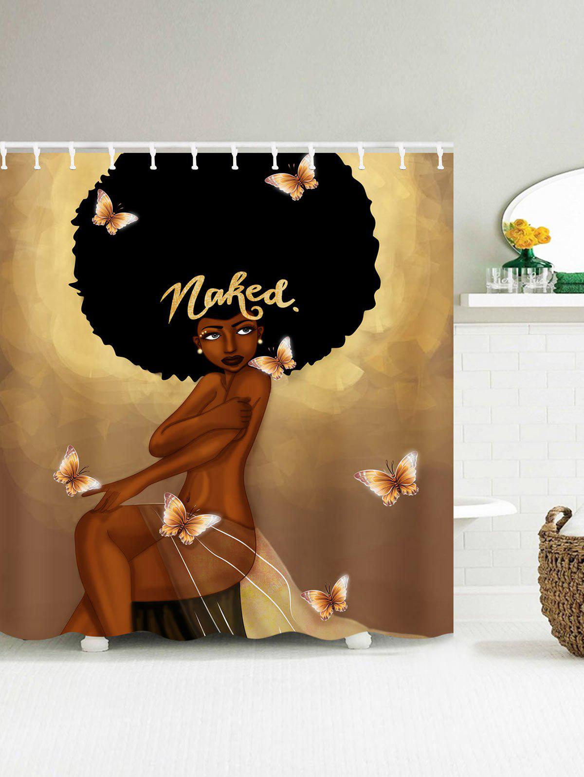 2018 Afro Hair Fashion Girl Have A Bath Shower Curtain