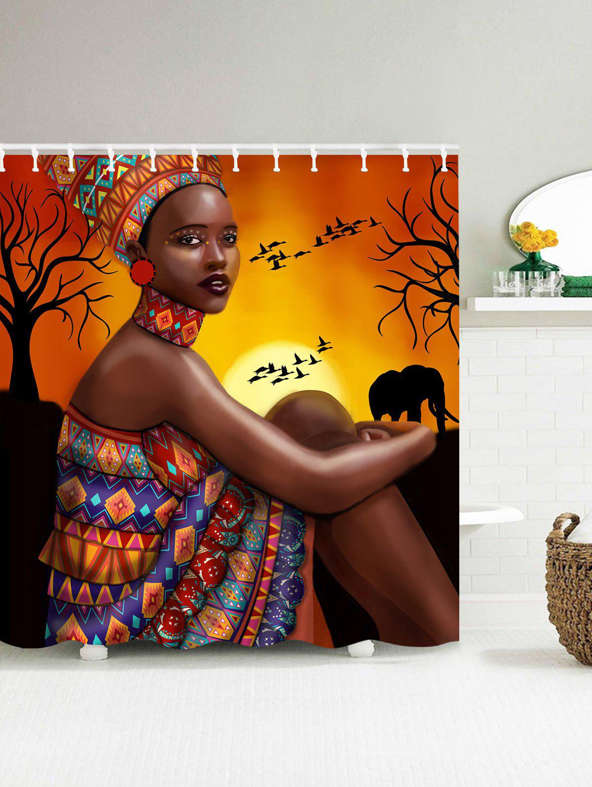 African Tribal Girl Print Mould Proof Shower Curtain бра omnilux caserta oml 34001 01