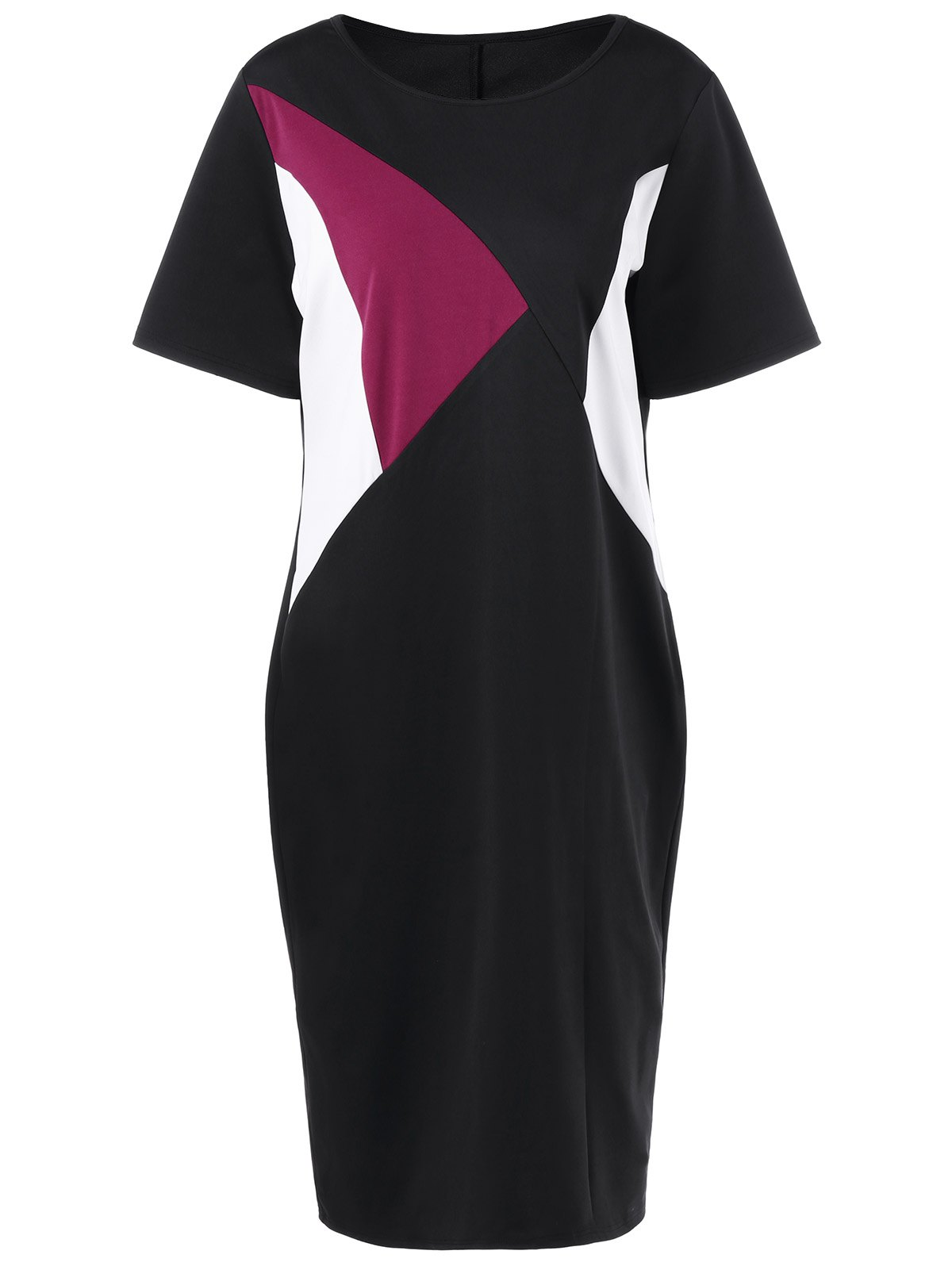 Plus Size Color Block Knee Length Tight Dress - COLORMIX 2XL