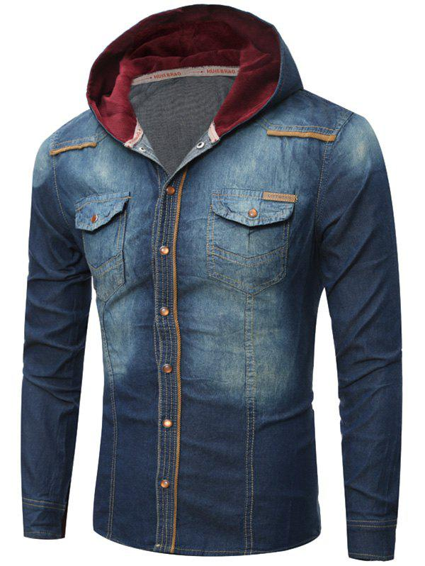 Breast Pocket Hooded Denim Shirt - CERULEAN XL