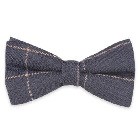 Checked Anti Wrinkle Bow Tie - CADETBLUE