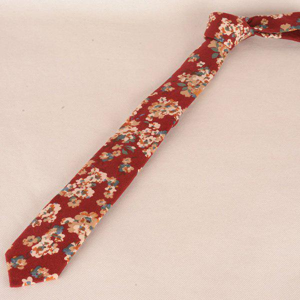 Neck Vintage Minuscule Bouquet d'impression cravate - Rouge
