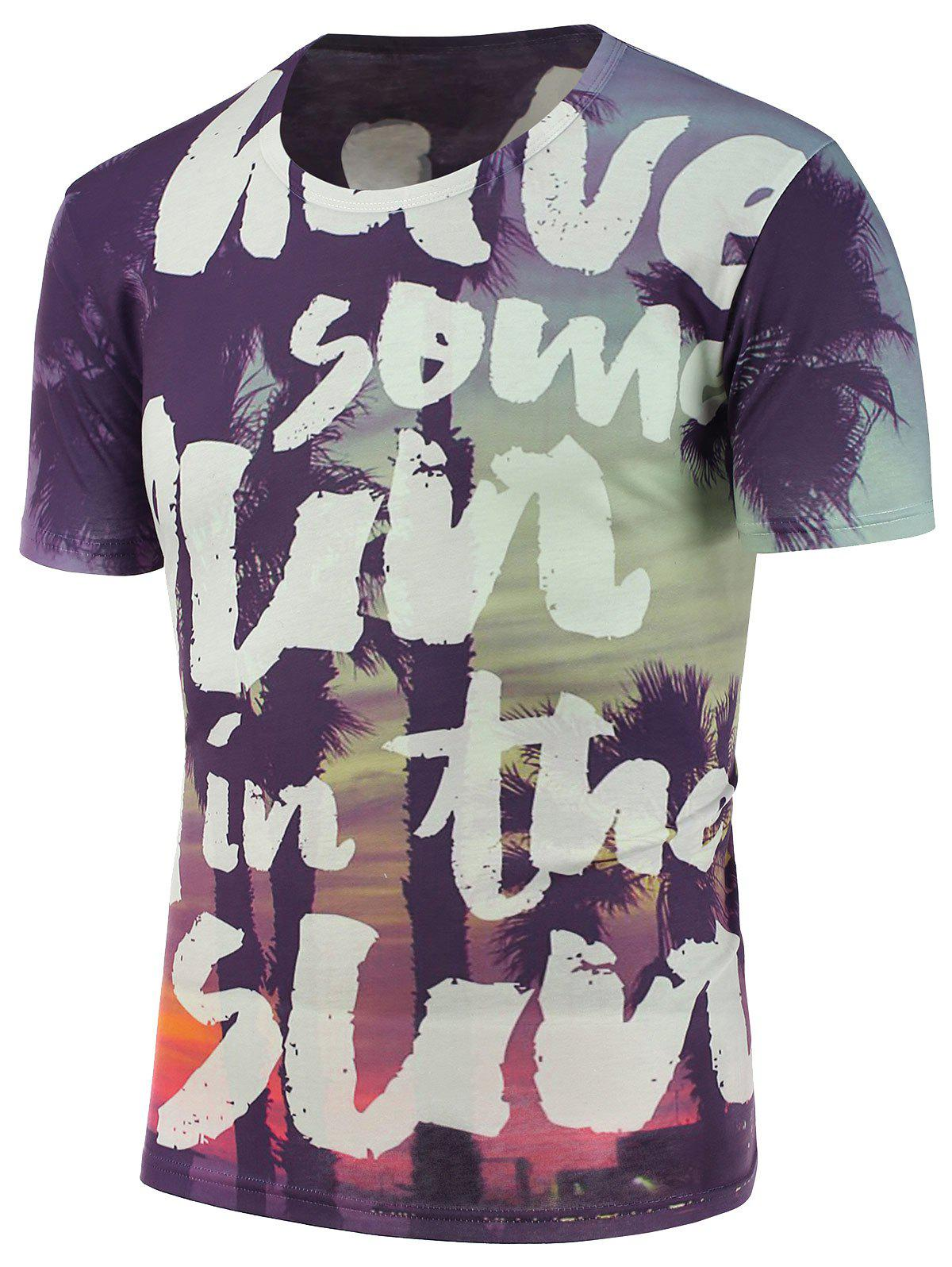 Short Sleeves Trees and Letters Printed T-Shirt