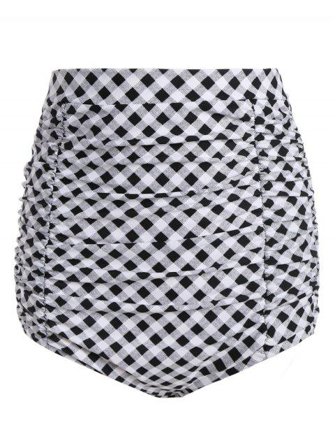 Plaid Vintage Cheeky High Waisted Bikini Shorts - CHECKED M