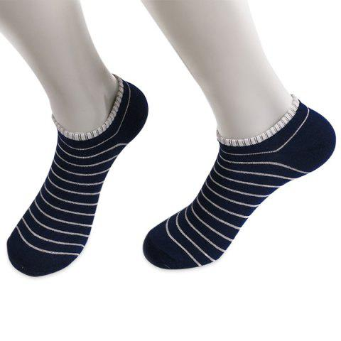 Knitted Pinstripe Elastic Ankle Socks - PURPLISH BLUE