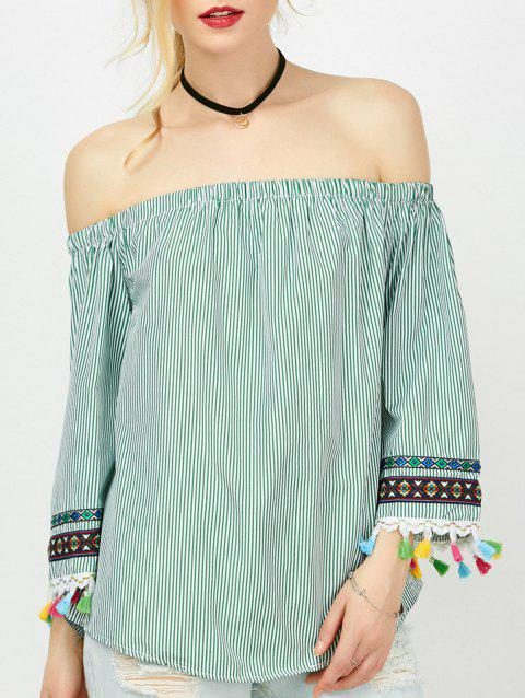 Striped Tassel Trim Off The Shoulder Blouse - BLACKISH GREEN S