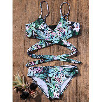 Strappy Bikini with Tropical Printed