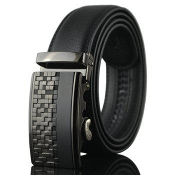 Checked Emboss Buckle Fake Leather Belt