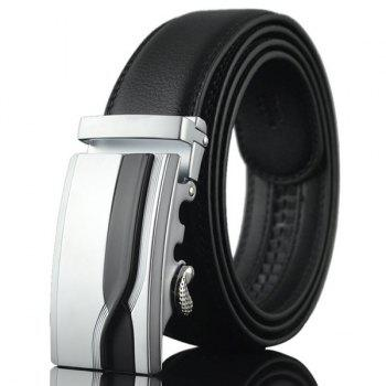 Geometric Polished Auto Buckle Wide Belt